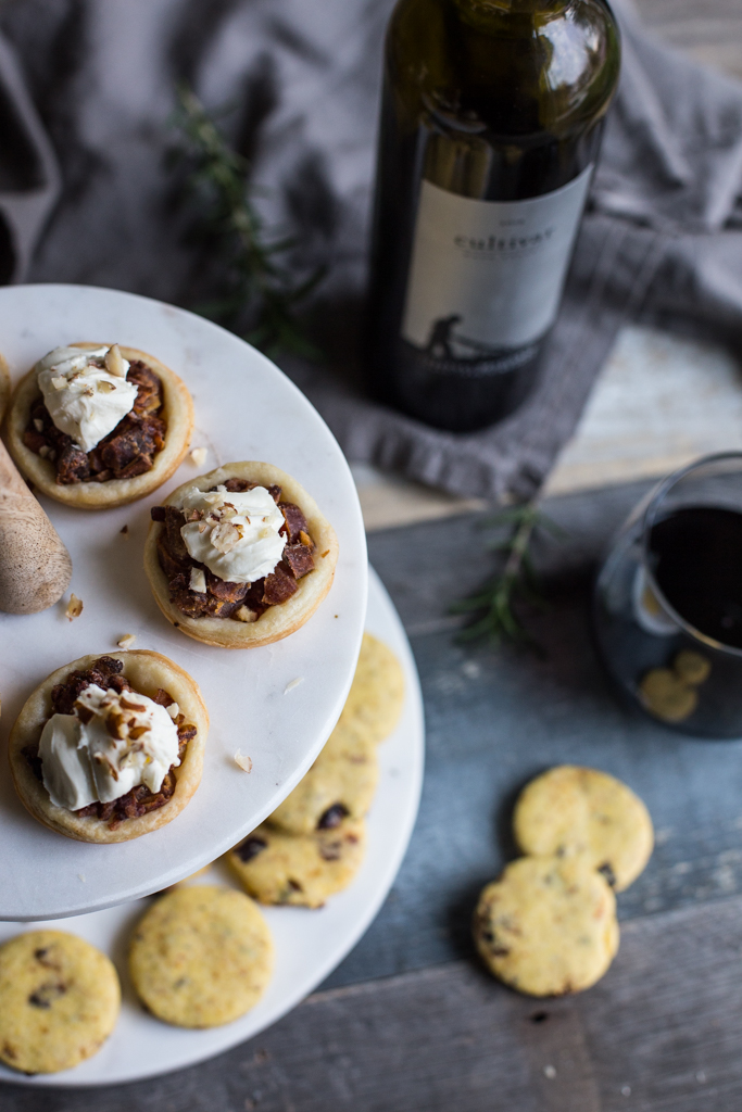 Holiday Appetizer Recipes | Date and Bacon Tarts with Mascarpone and Hazelnuts + Savory Fig, Rosemary and Parmesan Cornmeal Cookies | Fake Food Free #freeproductreview
