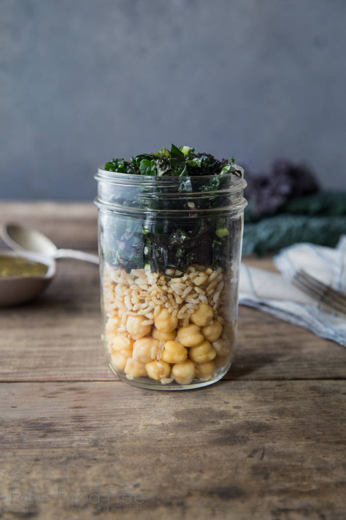 Chickpea, Brown Rice, and Kale Salad in a Jar with Pesto Recipe | Fake Food Free