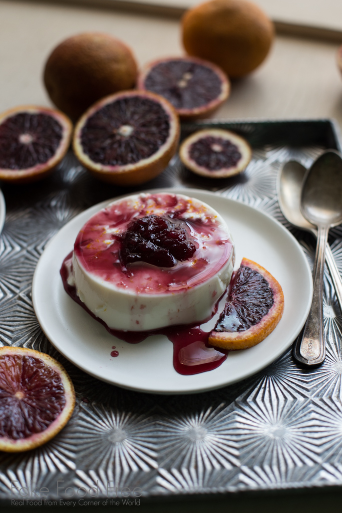 Anise Panna Cotta with Blood Orange Sauce