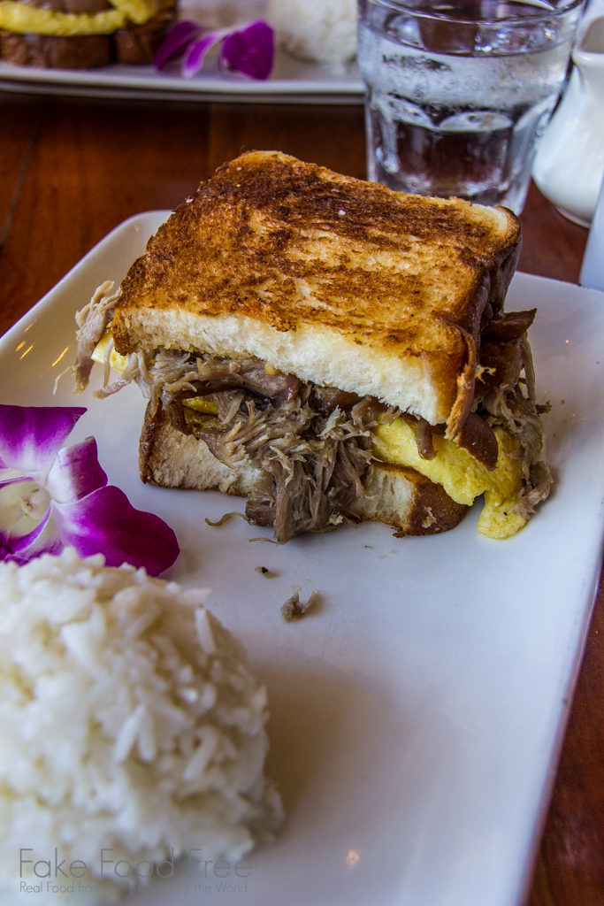 Egg and Kalua Pork Sandwich on Hawaiian Sweet Bread from Tiki Iniki | What to Eat in Kauai | Fake Food Free Travels