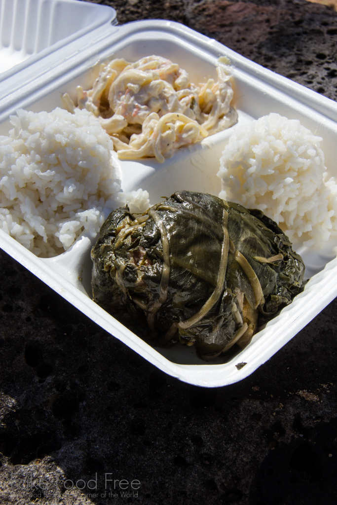 Hawaiian Plate Lunch with Pork Lau Lau, Rice and Mac Salad from Pono Market in Kapa'a | What to Eat in Kauai | Fake Food Free Travels