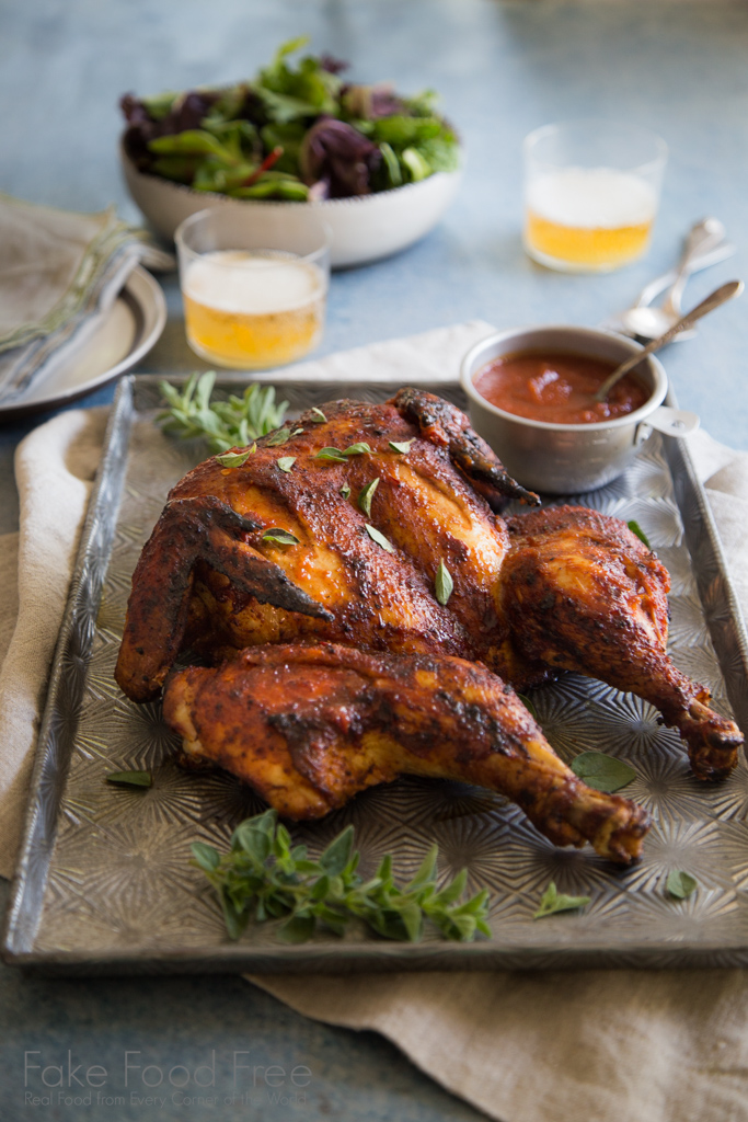 Dry-Rubbed Grilled Whole Chicken with Chili-Lager Barbecue Sauce Recipe | Fake Food Free | Sponsored Post