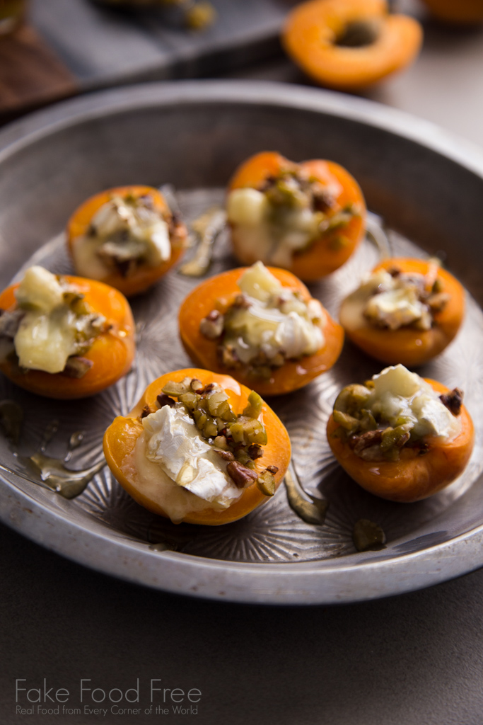 Warm Stuffed Apricots with Green Olives, Pecans, and Brie Recipe | FakeFoodFree.com