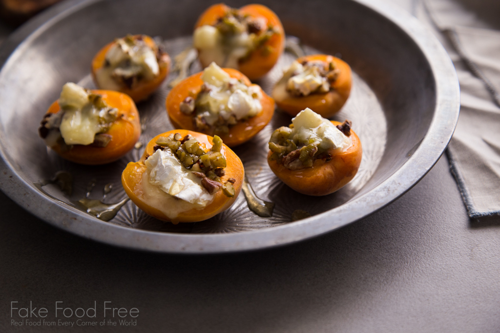 Stuffed Apricots with green olives, pecans, and Brie recipe | FakeFoodFree.com