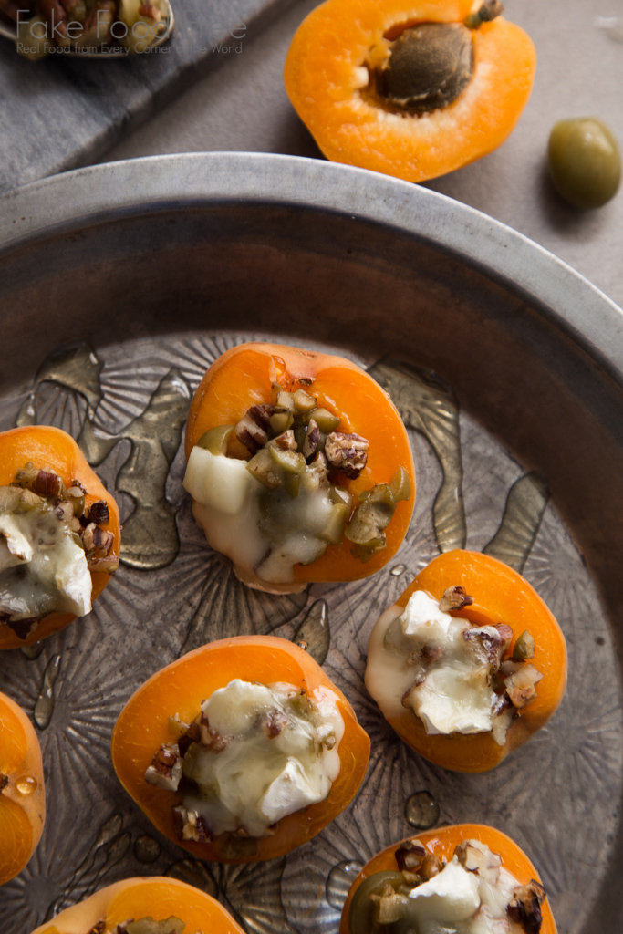 Apricots stuffed with green olives, pecans, brie and honey recipe | FakeFoodFree.com