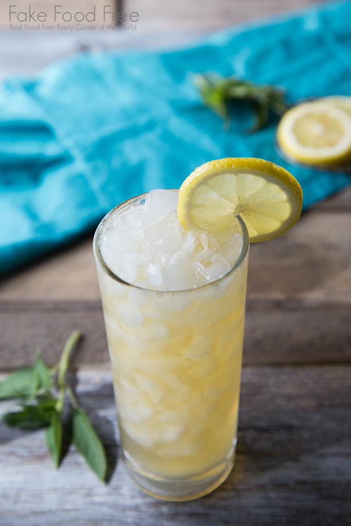 Pineapple Sage Bourbon Lemonade Recipe | FakeFoodFree.com