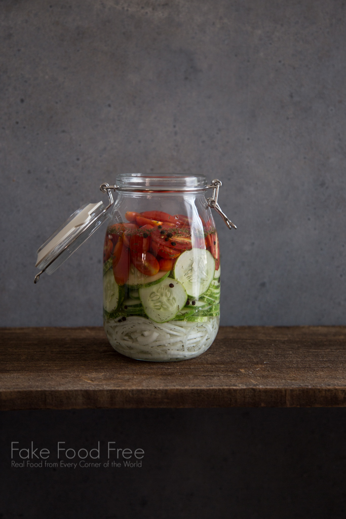 Quick Pickled Cucumber Tomato Salad Recipe