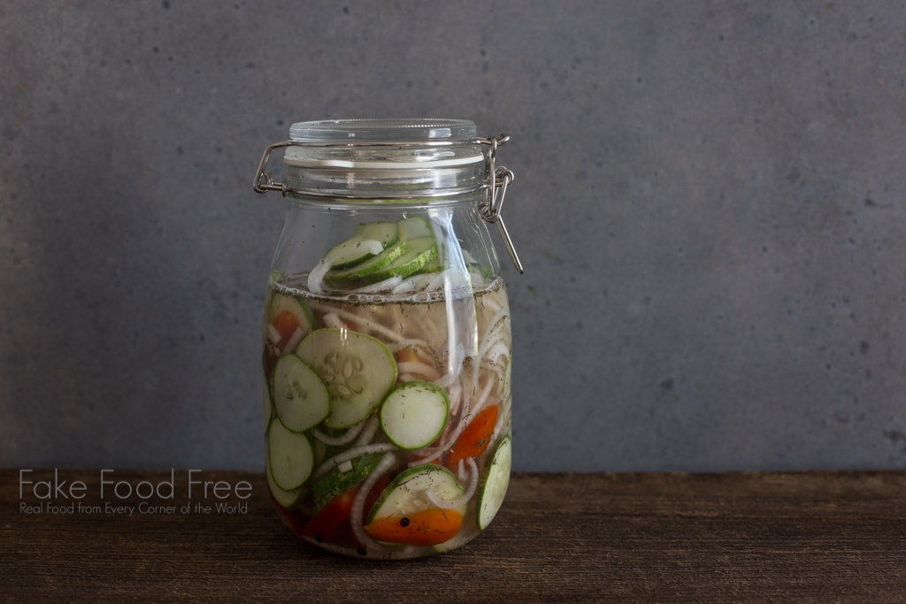 Quick Pickled Cucumber Tomato Recipe | FakeFoodFree.com