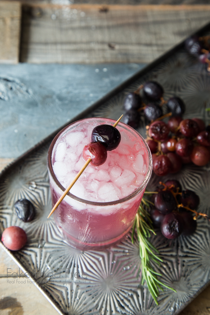 Roasted Grape and Rosemary Cocktail