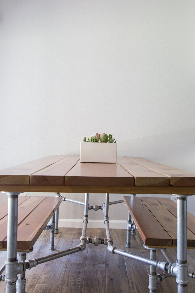 Our homemade redwood table | A New Kitchen | FakeFoodFree.com