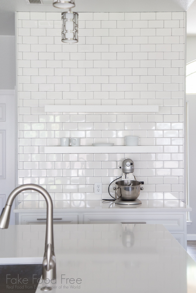Subway tile and open shelving | A New Kitchen | FakeFoodFree.com