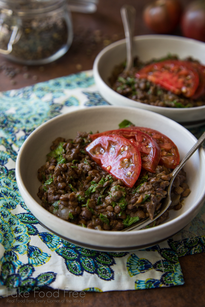 Lentils with Mustard Greens and Heirloom Tomatoes Recipe | FakeFoodFree.com