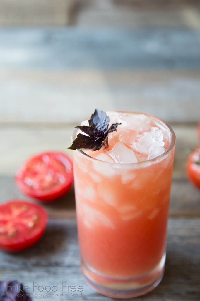 Tomato Purple Basil Vodka Cooler Cocktail Recipe | FakeFoodFree.com