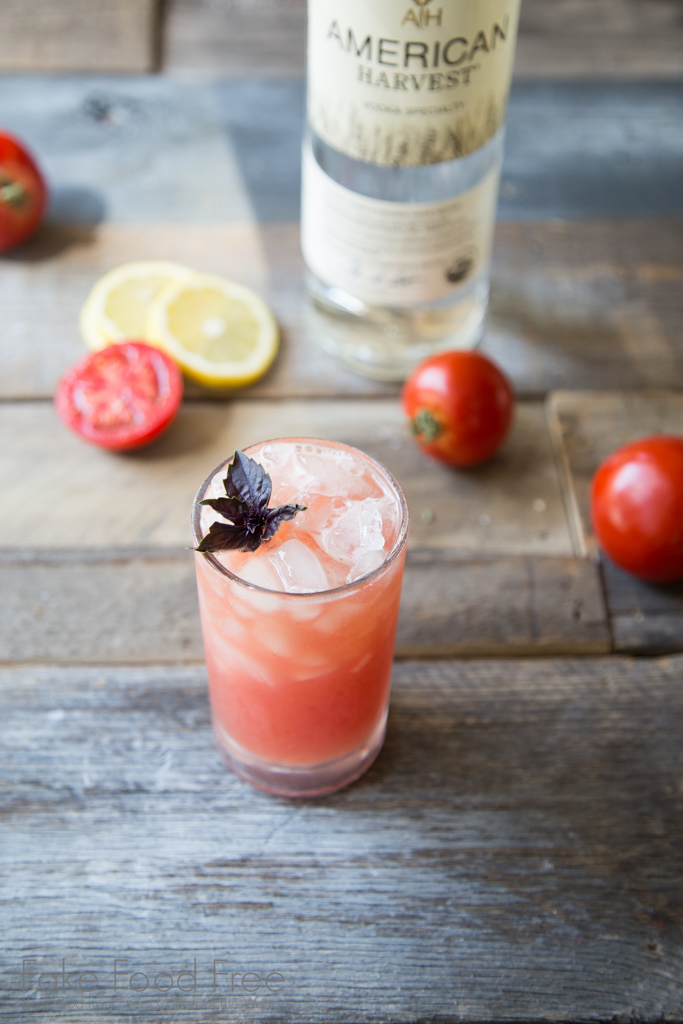 Tomato Purple Basil Cocktail made with American Harvest vodka | #freeproductreview