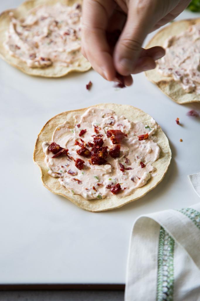 Prep for Arugula Sundried Tomato Tostadas | FakeFoodFree.com