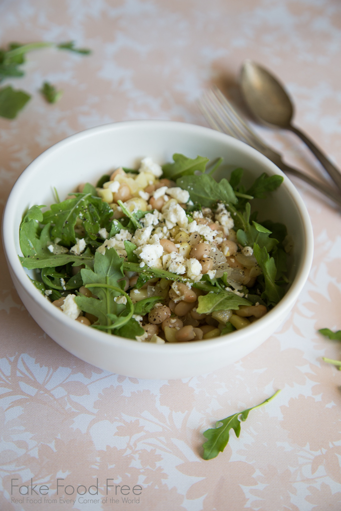 Corn White Bean Arugula Salad Recipe | FakeFoodFree.com