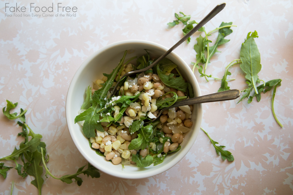 Corn with White Beans, Arugula and Feta Recipe | FakeFoodFree.com