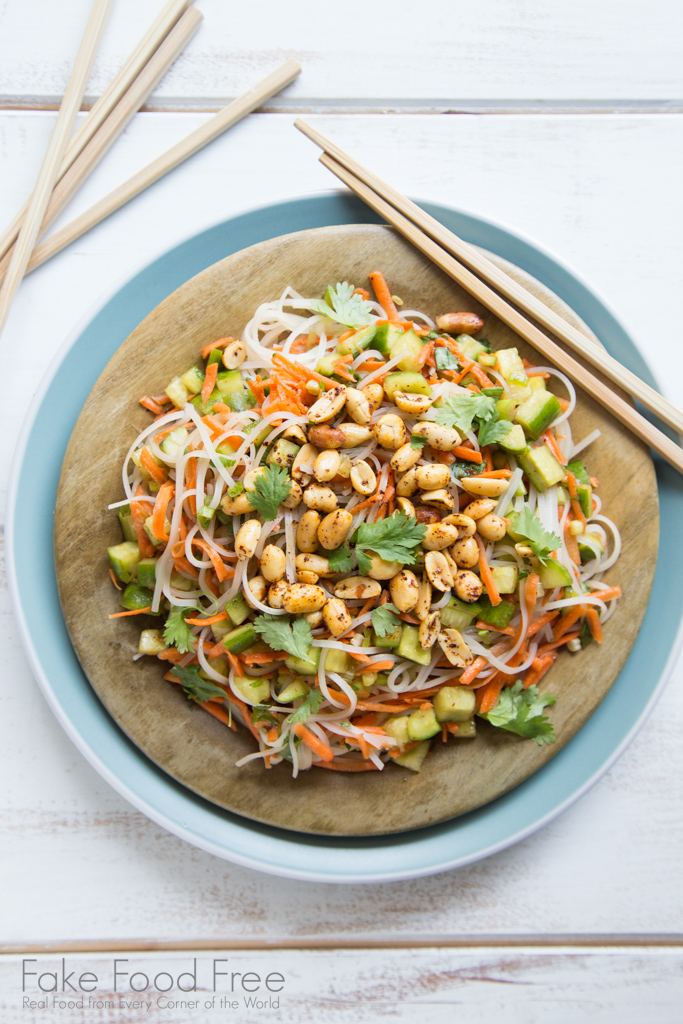 An Asian inspired chilled noodle salad recipe with a mix of veggies and toasted peanuts. | Tested recipe on FakeFoodFree.com