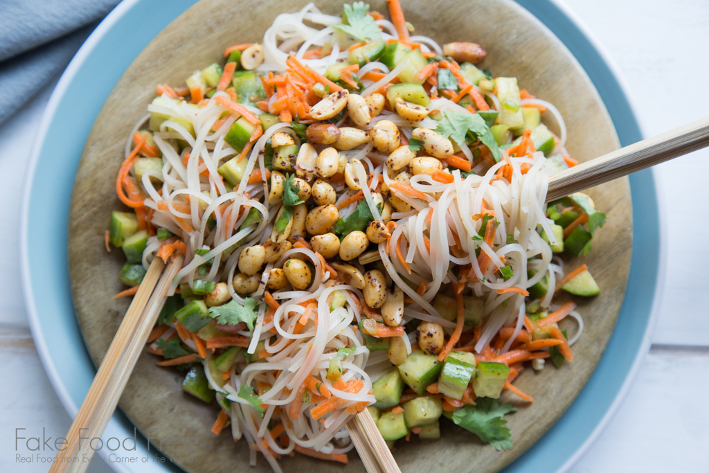 A tested recipe for an easy Asian noodle salad. A great appetizer for guests! | FakeFoodFree.com