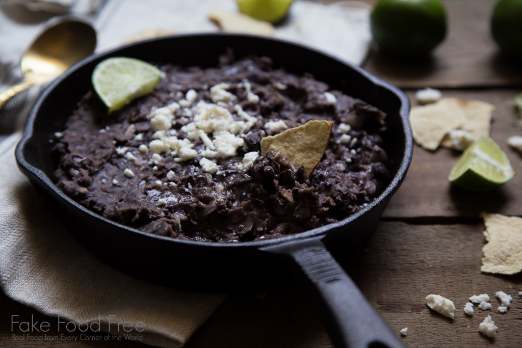 Garlic and Lime Refried Black Beans Recipe | FakeFoodFree.com