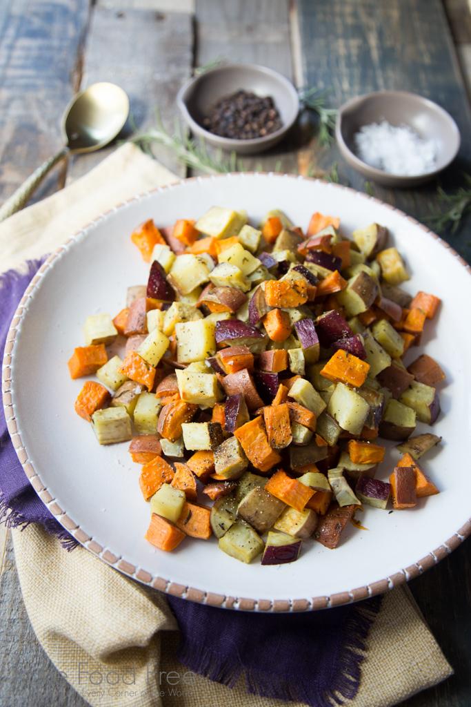 Roasted Mixed Sweet Potatoes with Rosemary Recipe | FakeFoodFree.com
