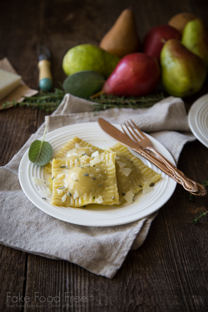 Roasted Garlic, Pear and Pork Ravioli Recipe | Sponsored Post | FakeFoodFree.com