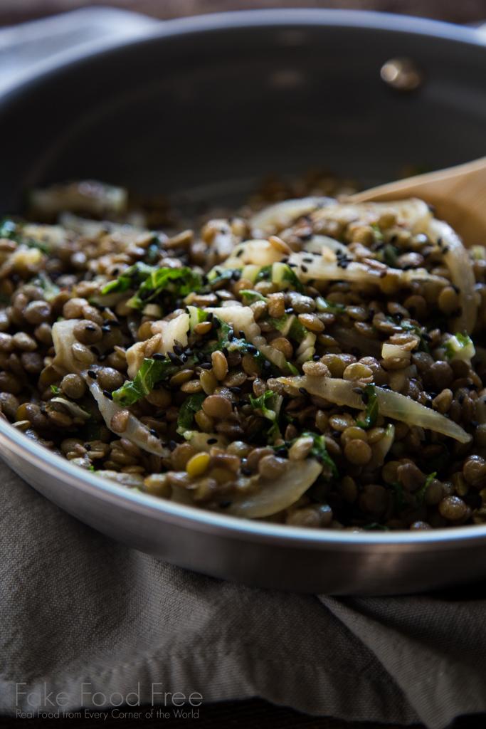 Homemade Sesame Lentils with Bok Choy Recipe | FakeFoodFree.com