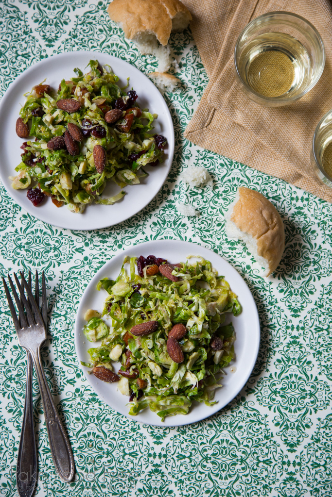 Skillet Tossed Shredded Brussels Sprouts Salad with Orange Maple Dressing Recipe | FakeFoodFree.com