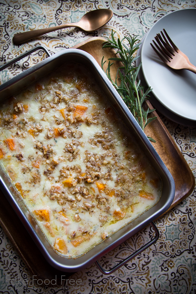 Butternut Squash Blue Cheese Gratin with Walnut Rosemary Crumble Recipe | FakeFoodFree.com