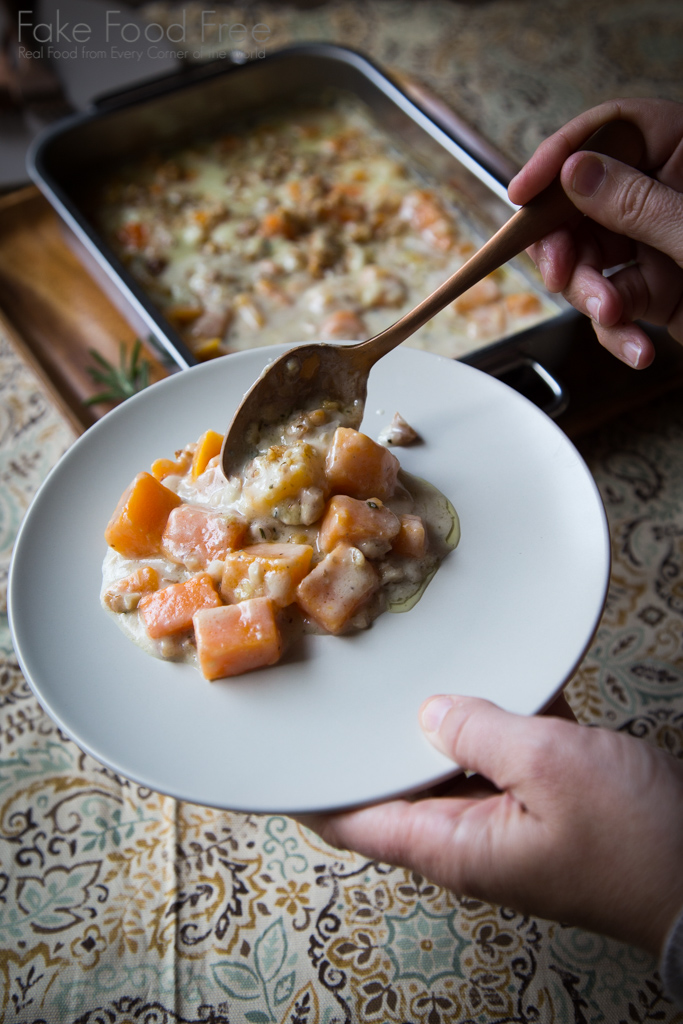 Butternut Squash Blue Cheese Gratin with Walnut Rosemary Crumble Recipe
