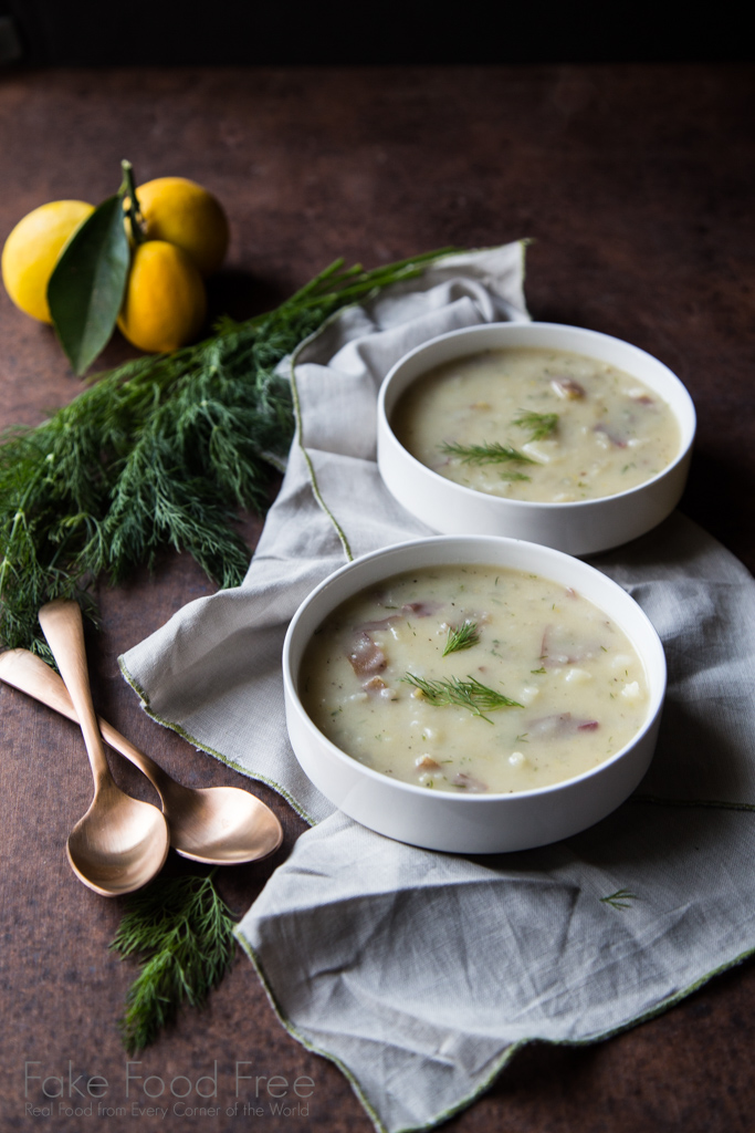 A recipe for rustic potato soup flavored with dill and tangy lemon | FakeFoodFree.com