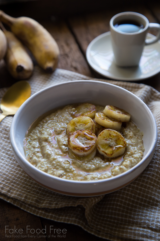 Coconut Curry Oatmeal with Fried Thai Bananas and Honey Recipe | FakeFoodFree.com