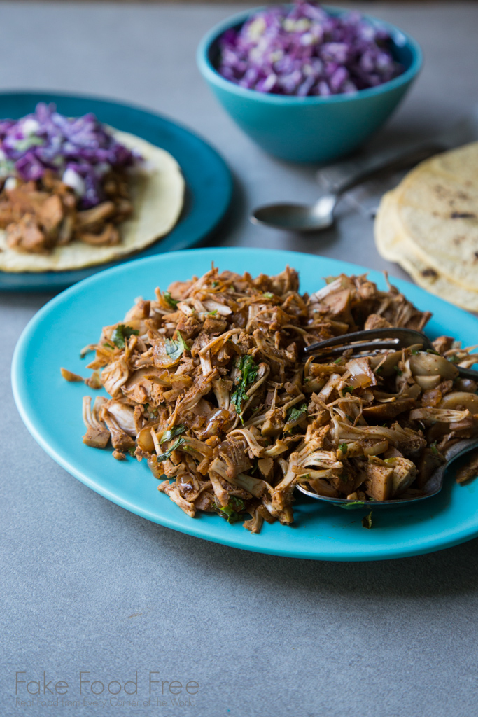 Jackfruit Tacos with Coconut Lime Purple Cabbage and Green Onion Slaw Recipe | FakeFoodFree.com